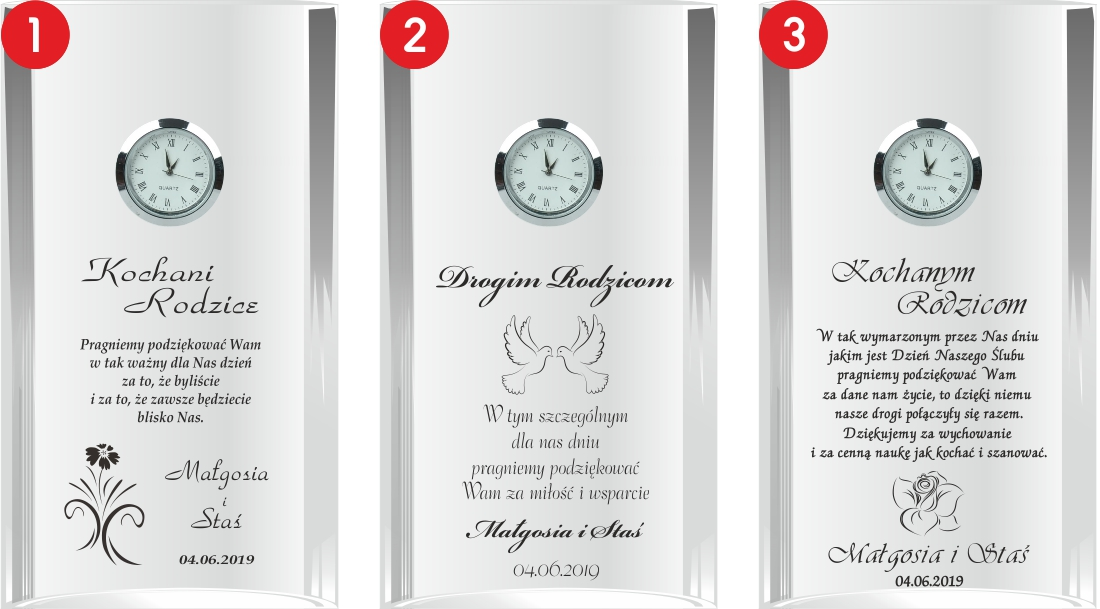 prezent dla rodziców, szklany zegar, kryształowy zegar